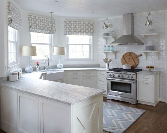 Spacious white kitchen.