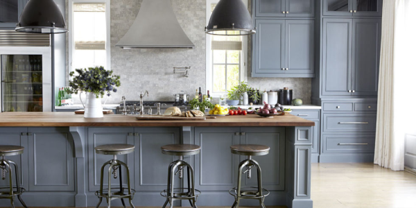 Slate blue painted kitchen cabinets and island.