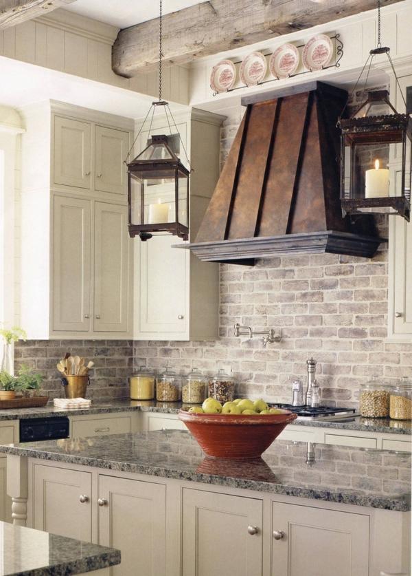 Brick kitchen backsplash.