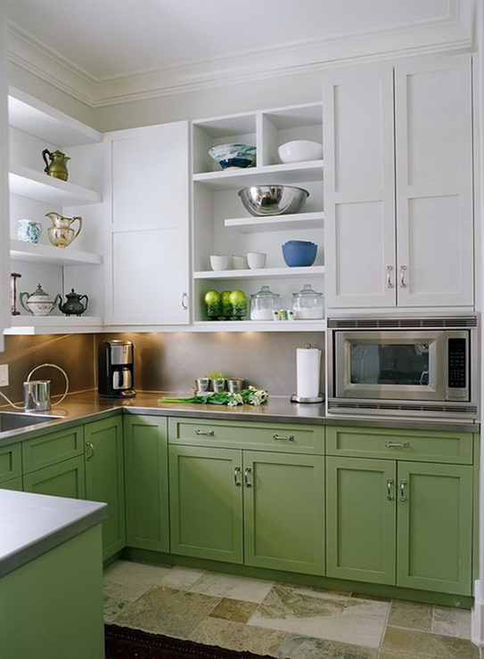 Kitchen with green lower om cabinets & white top cabinets.